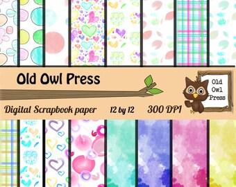 Scrapbook Paper, Digital Paper, Printable Paper, Digital Design, Designer Paper, Instant Download, Paper Pack, Commercial Use, polka dot