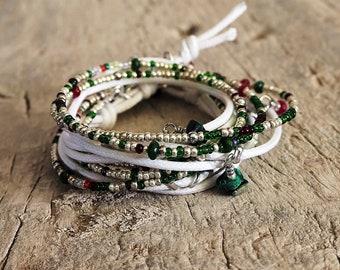 Wrap bracelet Green, Wrap Bracelet, Boho, bracelet for men and women, Unisex Jewels, handmade Jewel, four strands bracelet, for summer
