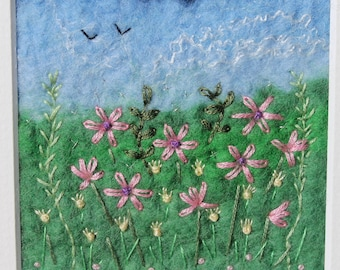 Wet felted flower picture with hand-embroidery.