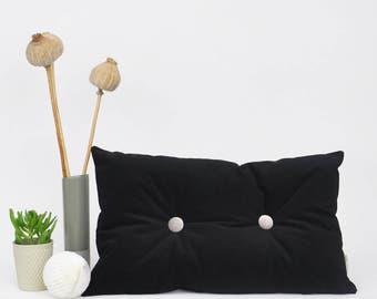 """Black Velvet Pillow, Lumbar Pillow, Decorative Pillows, Velvet Lumbar Pillow, Modern Home Decor, Throw Pillow, Black Velvet Pillow 12""""x20"""""""