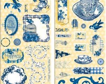 Bo Bunny Genevieve Chipboard - Genevieve Chipboard - Decorative Chipboard - Blue and Yellow Chipboard Embellishments - Decorative - 4-057