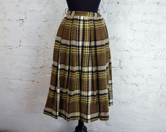 Vintage 1950s Majestic Brown White Yellow Plaid Pleated Wool Midi Skirt