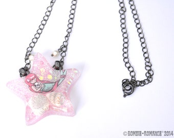 Resin Mermaid Star Illustrated Necklace in Pink - 3 Choices in Mermaid