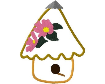 birdhouse applique with flowers on roof