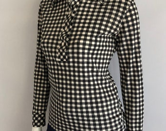 Vintage Women's 70's Mod, Houndstooth, Blouse, Polyester, Long Sleeve (M)