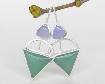 Green Aventurine and Lavendar Chalcedony Triangle Silver Earrings ~ Silver Curve Earrings