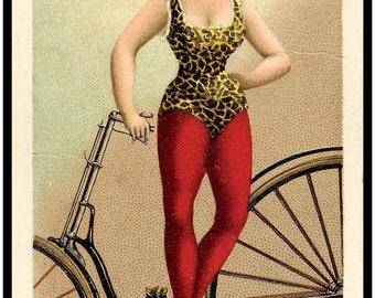 Vintage Bike - Antique Bicycle Print - Trick Riders premium card series, early 1890s