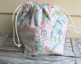 Flannel Feather Knitting Project Bag - Toad Hollow bag, Crochet Project bag, drawstring bag, perfect gift for him or her,Toadstool bag
