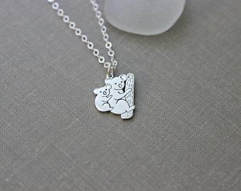 Koala Bear charm necklace - Mother koala with baby - Marsupial necklace - Australian  - Outback necklace