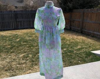 1960's Sheer Flocked Floral Maxi Dress Ladies