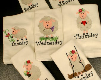 Cute Lamb Days of The Week Embroidered Dish Towels (Set of 7) - Made to Order