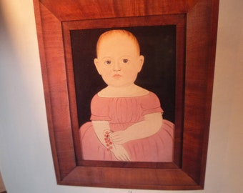 Infant in Pink Dress - Folk Art Portraits - charming early 19th century children - gift for nursery - framable digital portrait