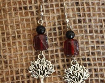 Red tree earrings