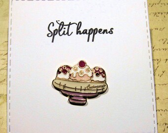 Banana Split Enamel Pin with handmade Punny card & envelope - Lapel Pin - Split happens - Hard Enamel Pin - Cute Food Trend - Backpack Pin