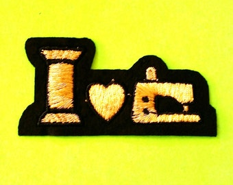 I Heart Sewing Crafty Bitch Seamstress DIY Queen Satin and Metallic Gold Embroidered Sew On Patch