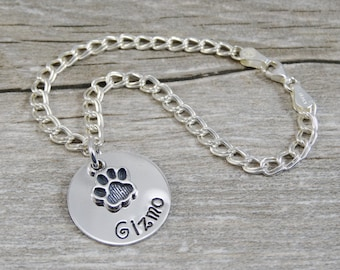 Pet Jewelry - Hand Stamped Jewelry - Personalized Jewelry - Mother Bracelet For Pet Owner - Sterling Silver Bracelet - Paw Print Charm