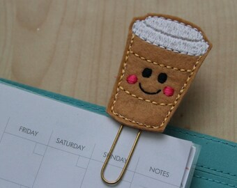 Happy Coffee Cup felt Planner Clip - Paper Clip - Bookmark