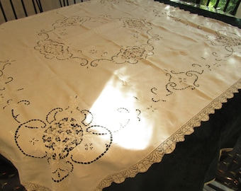 Reduced price    vintage linen, table cloth, handmade lace, lace inserts and drawn work