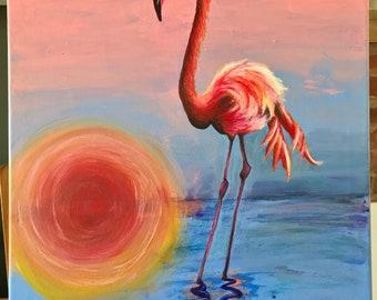Flamingo painting. Pastel pink. Pastel blue. Pastel colours. Hand painted sunset
