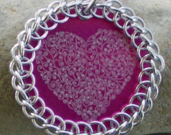 Chainmaille Wrapped Pink Engraved Heart Pendant Necklace