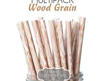 WOOD GRAIN Paper Straws, Party Decor, Cake Pops, Wood Straws, Lumberjack Party, Woodland Theme, Shower, Birthday Baby Shower, Wedding, Baby