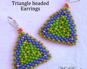 Beadwoven Tutorial, Beaded Earring Tutorial, Seed Bead Tutorial, PDF Beaded Earring Pattern, Seed Bead Pattern,Triangle Earrings, Beadwork