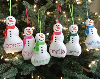 Puffy snowman personalized ornament, Christmas ornament, Baby's first ornament, Snowman ornament, Personalized ornament