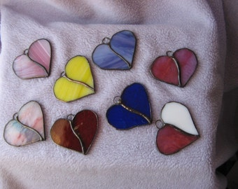 2 Mini Valentine Stained Glass Hearts