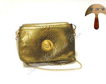Golden python leather satchel bag
