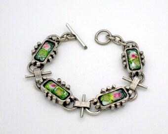 Vintage 800 Silver Modernist Bracelet, Multi Colored Glass Insert, 1960s Link Style Design