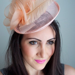"Peach Fascinator - ""Kate"" Mesh Couture English Hat Fascinator Headband"