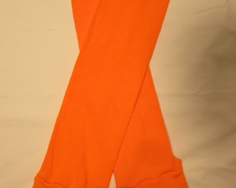 Leg Warmers  / Arm Warmers / Babylegs  - Neon Orange Solid with Bright Blue Tops - Dees Transformations