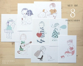 Daughters - set of 8 postcards