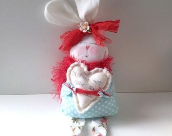 Poupée Lapin turquoise à pois #005-rabbit-doll