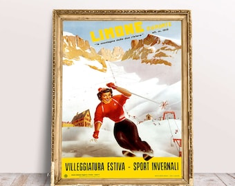 Travel Poster Limone Piemonte by Carlo Pandoni 1955 Ski Poster Travel Wall Art Tourism Poster Wall Decor Alps Print Edited & Restored