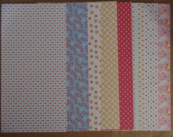set of 8 background papers 30 cm x 15 cm