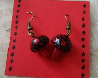 Black and Red Toadstool Earrings Cute and Quirky Girlie Gift Ideas