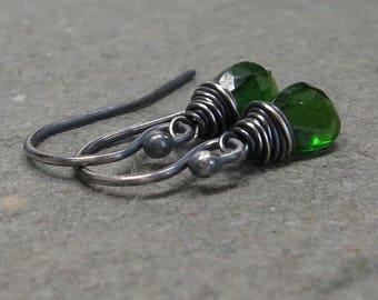 Chrome Diopside Earrings Petite Minimalist Simple Green Gemstones Sterling Silver Oxidized Earrings Small Little Jewelry