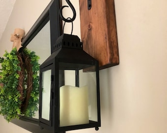 Farmhouse Lantern Wall Sconces With LED Flickering Candle