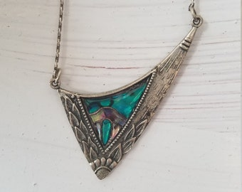 Art Deco Inlaid Glass Enamel Colorful Abstract Asymmetrical Floral Carved Dimensional Bib Statement Silver Plated Necklace FREE SHIPPING!