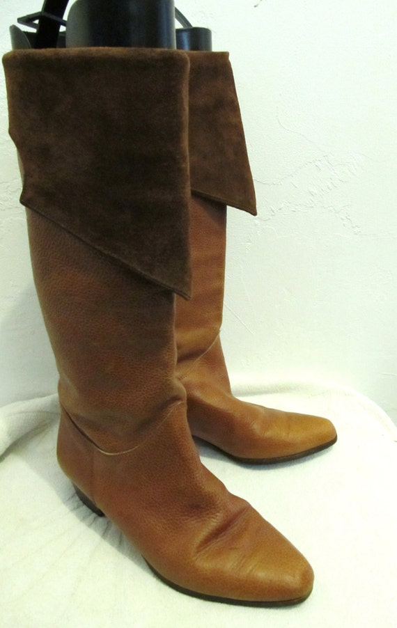 LEATHER amp; Tone Tall 2 ITALIAN Marked Brown 80's Vintage Boots Down Women's 7M SUEDE wqAf48