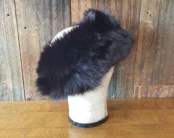 Black Fox Fur Earmuffs headband / ear warmer hat