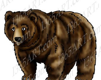 50% OFF Bear Clipart, bear clip art, wildlife clipart, Bear Graphics, Grizzly Bear, Illustration, Scrapbooking, coloring page, Digital Stamp