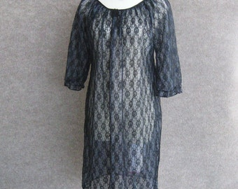 Vintage 60s Nightgown Sheer Black Illusion Lace, Mod Babydoll Negligee, Nylon Chiffon Nightie, See Through Gown Lingerie, Bust 36