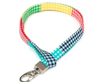 Rainbow Madras Lanyard - Preppy ID Badge Holder - Plaid Name Tag - Student Name Tag - Teacher Lanyard - Name Tag Holder - Gingham Lanyard