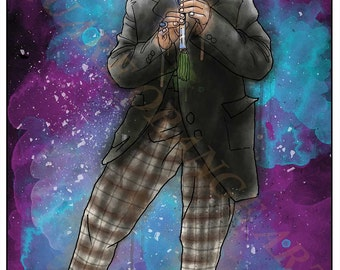 Second Doctor Patrick Troughton 2nd Dr Who Splash Style A4 Original Art Print