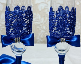 Hand painted wedding flute set Royal blue wedding champagne