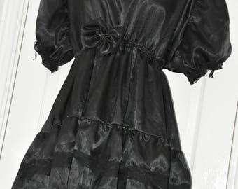 JOL - Sissy Goth Bridal  dress in slithery black satin - 5XL, so silky and femme, crossdressing fun, Sissy Lingerie