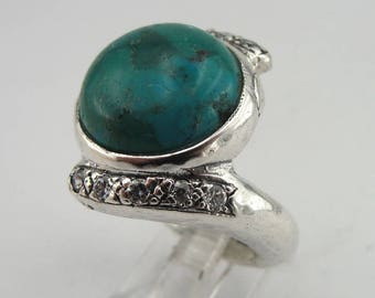 925 Turquoise ring, Handcrafted  925 sterling Silver ring,Inlaid with zircon  (ms 1003)