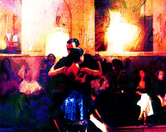 Tango Class limited edition digital print milonga demonstration
